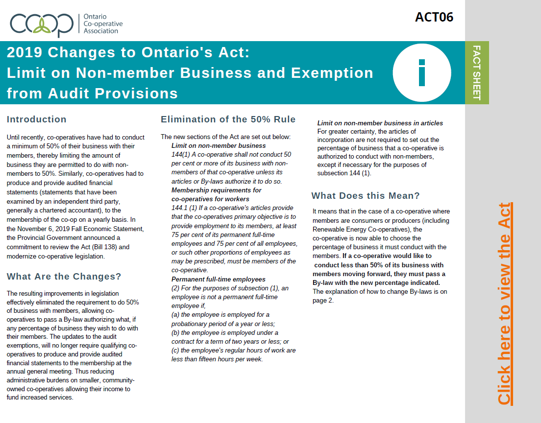 2019 Updates to Ontario's Act: Limit on Non-member Business and Exemption from Audit Provisions