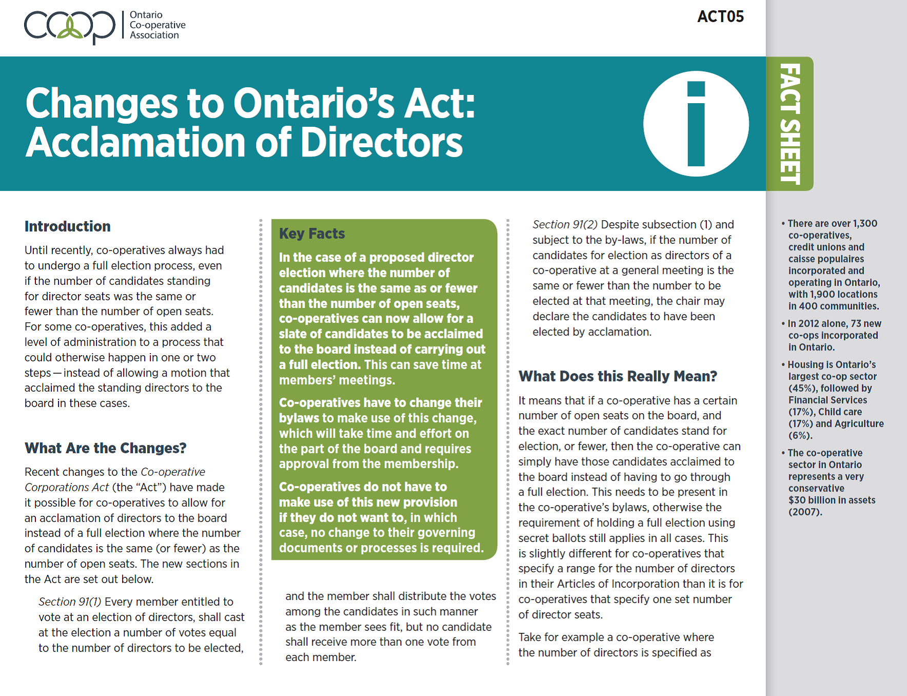 Changes to the Ontario's Act: Acclamation of Directors
