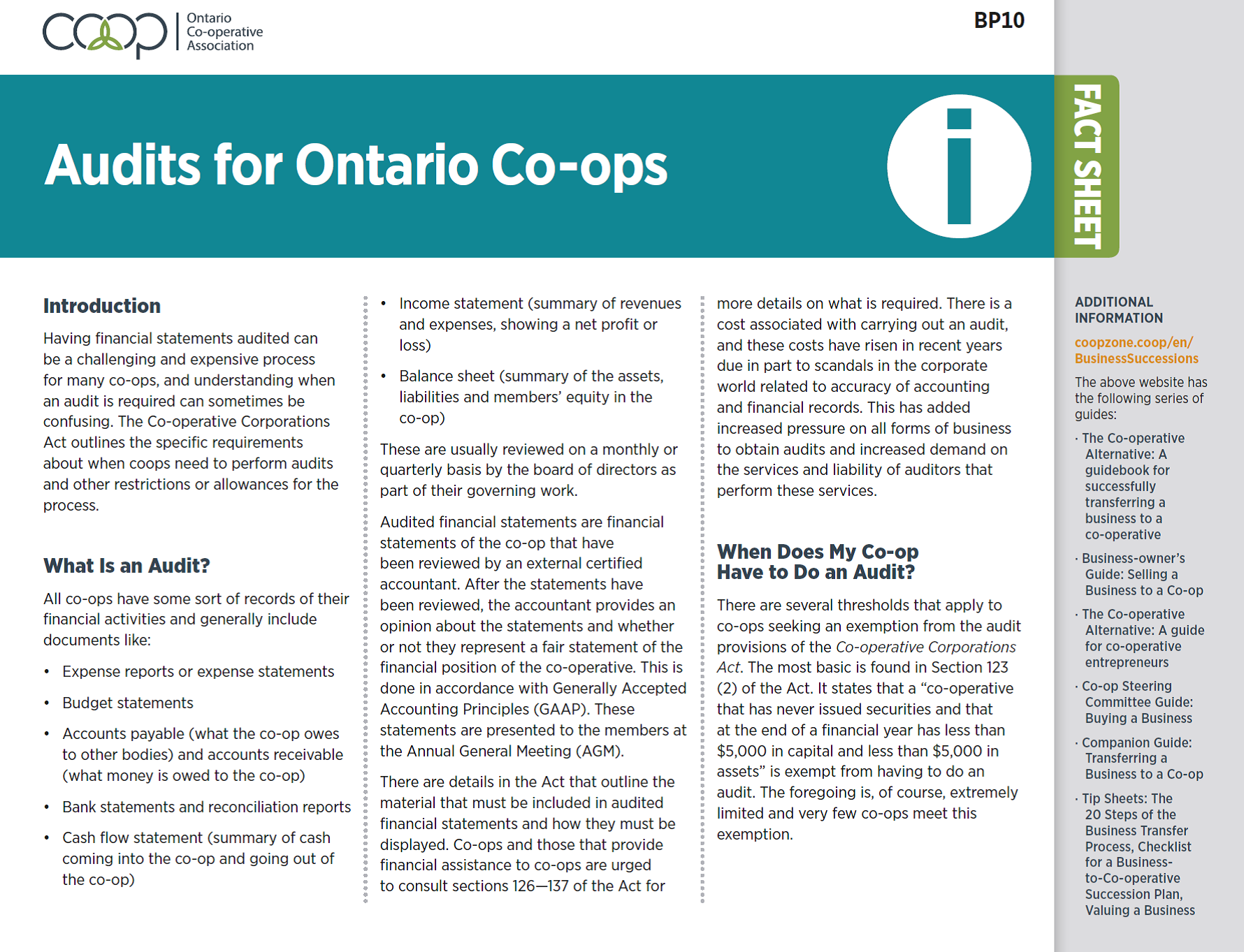 Audits for Ontario Co-ops