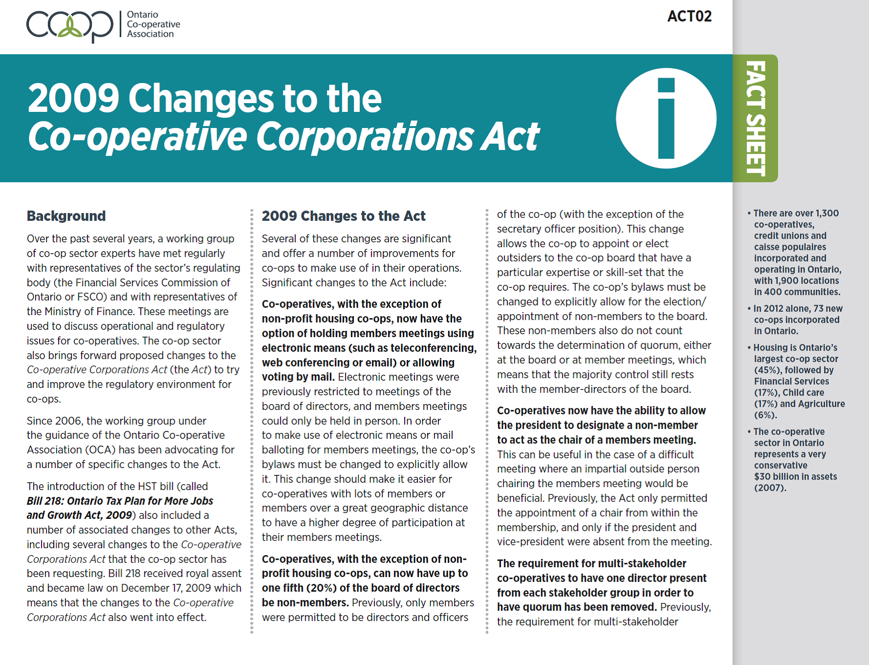 2009 Changes to the Co-operative Corporations Act