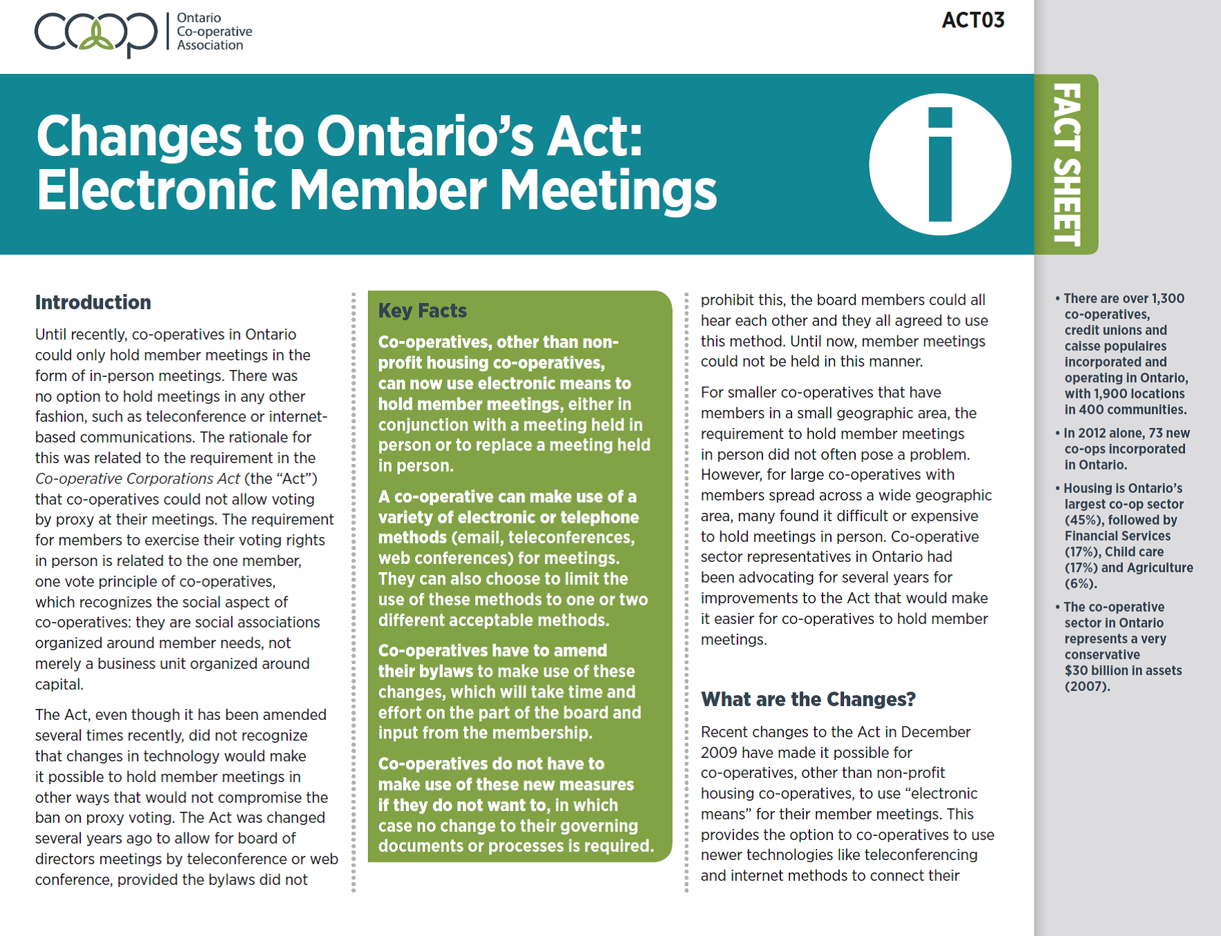 Changes to the Ontario's Act: Electronic Member Meetings