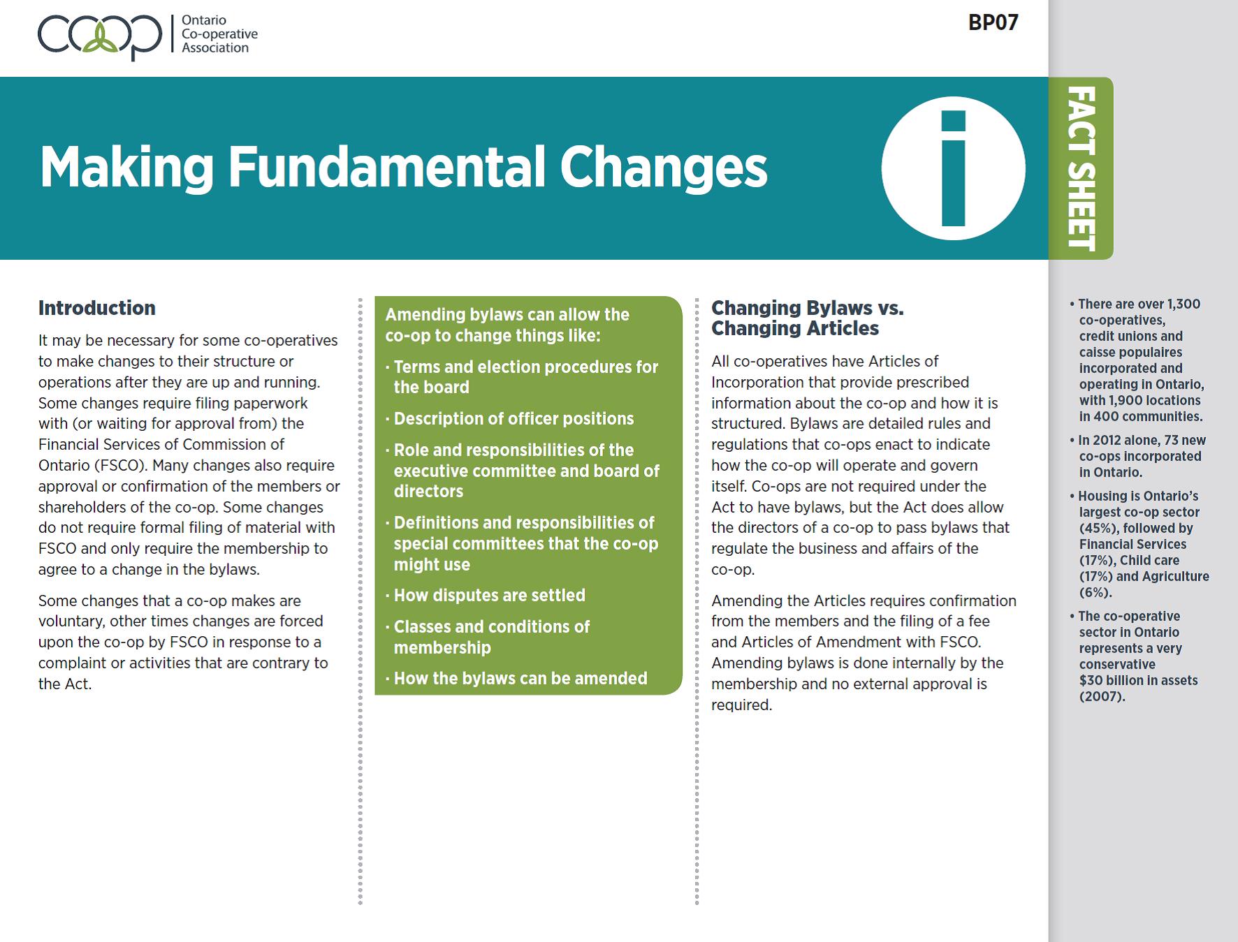 Making Fundamental Changes