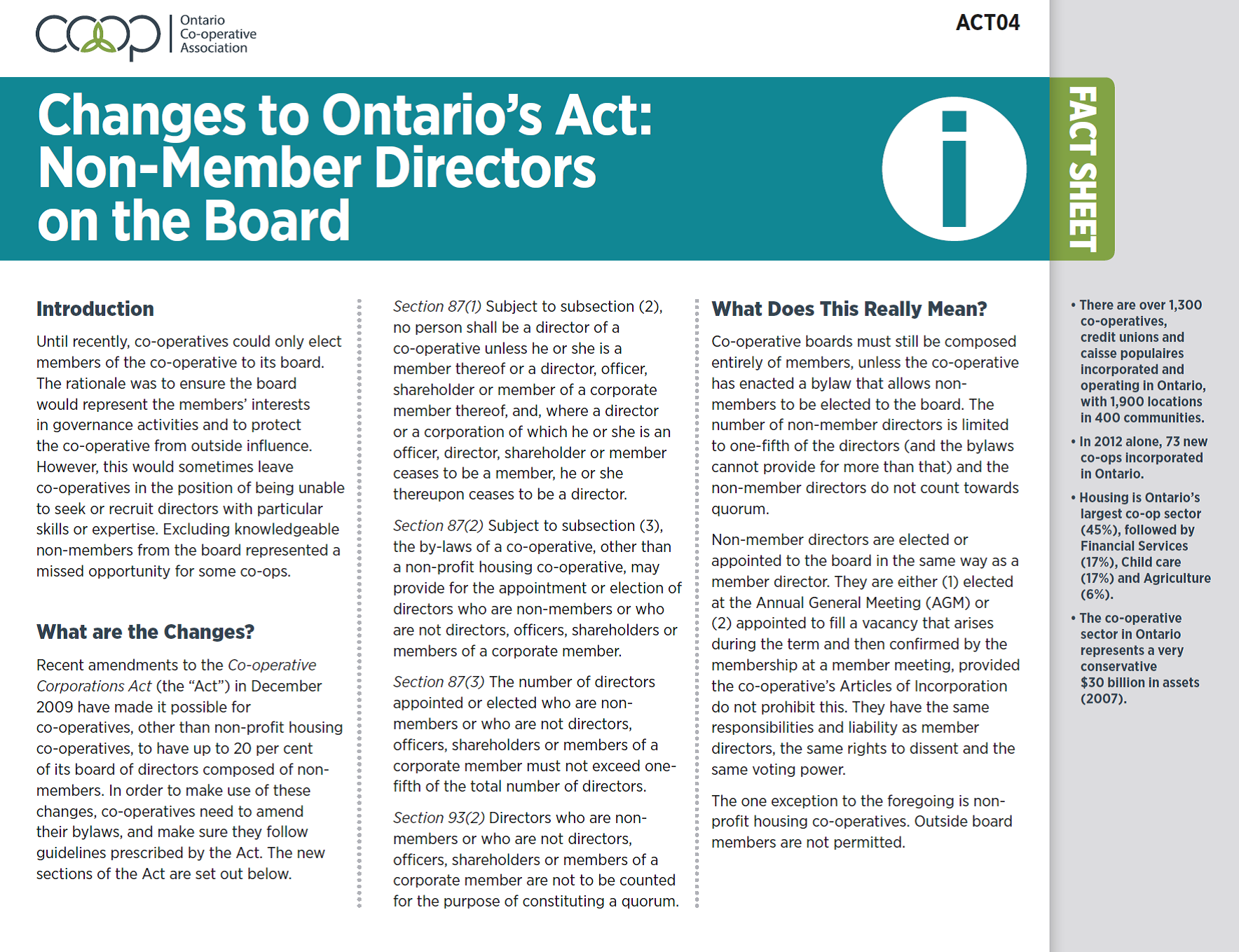 Changes to the Ontario's Act: Non-Member Directors on the Board