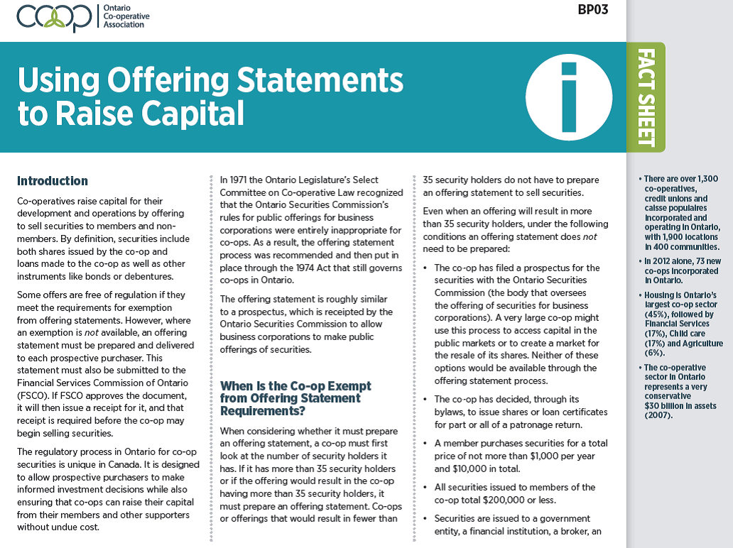 Using Offering Statements to Raise Capital